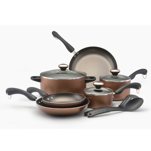 Paula Deen Signature Dishwasher Safe Nonstick 11-Piece Cookware Set, Copper