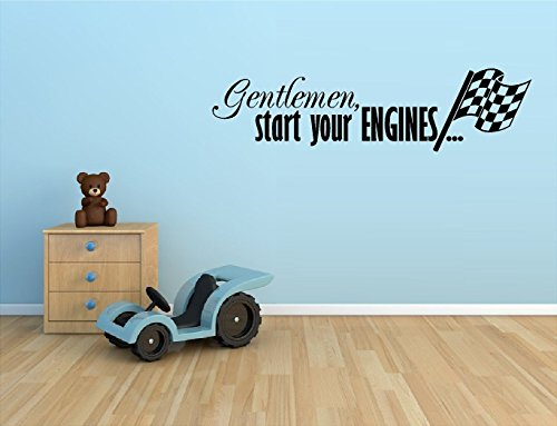 Gentlemen Start Your Engines with Checkered Flag Vinyl Decal Home Decor