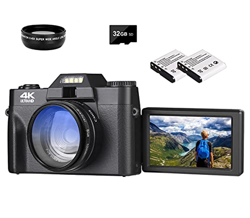 4K Digital Camera 48MP Vlogging Camera for YouTube 30FPS WiFi Video Camera Camcorder with 3' LCD HD Screen, 1080P 16X Digital Zoom Starter Camera Wide Angle Lens with 32GB SD Card and 2 Batteries
