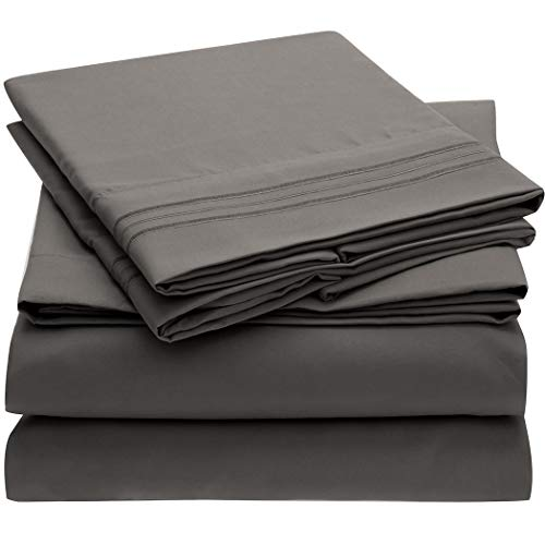 Mellanni Bed Sheet Set - Brushed Microfiber 1800 Bedding - Wrinkle, Fade, Stain Resistant - 4 Piece (Queen, Gray)