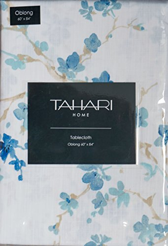 Tahari Home Fabric Tablecloth Blue Beige Floral Pattern 60 ' x 84 '