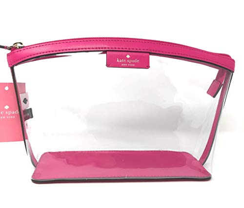 Kate Sapde New York Medium Cosmetic Pouch Travel Case Clutch Clear Bag Pink