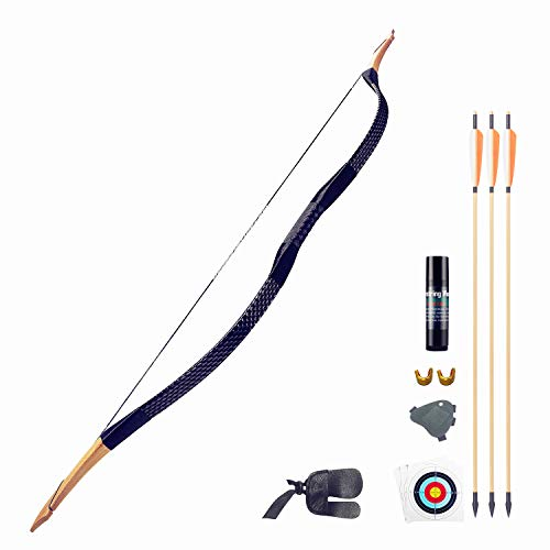 KAINOKAI Traditional Handmade Longbow Horsebow,Hunting Recurve Archery Bow,Recurve Bow Set (Black Dragon, 25.0 Pounds)
