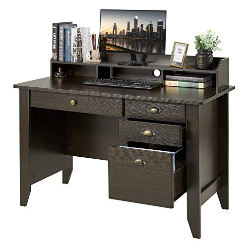 Computer Desk with 4 Drawers and Hutch Shelf, Home Office Desk Writing Sturdy PC Laptop Notebook Desk, Spacious Desktop Vintage Style Brown
