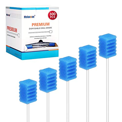300 Pcs Oral Swabs-Unflavored & Sterile Disposable Dental Swabsticks for Mouth Cleaning- Individually Wrapped (Dental Blue)