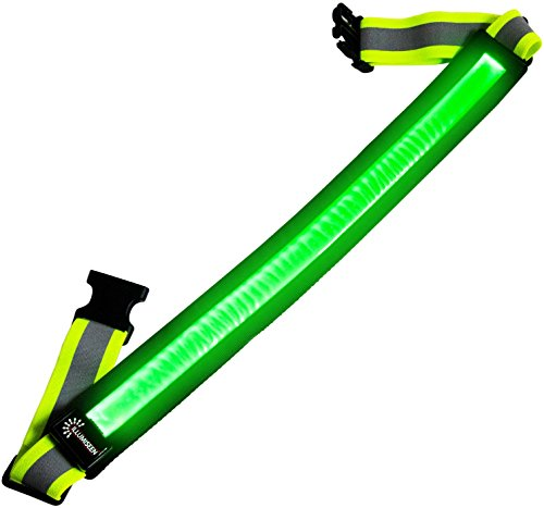 LED Reflective Belt - USB Rechargeable - High Visibility Gear for Running, Walking & Cycling - Fits Women, Men & Kids - Fully Adjustable & Lightweight - Safer Than a Reflective Vest - Green, Red, Blue