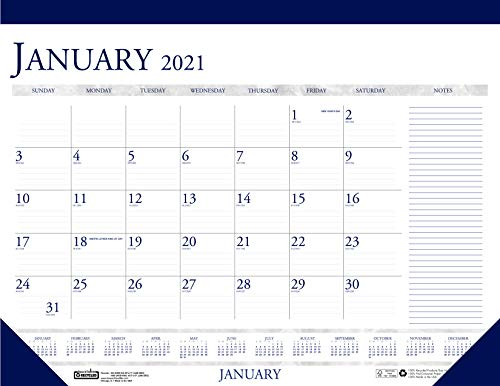 House of Doolittle 2021 Monthly Desk Pad Calendar, Classic with Notes Section, 22 x 17 Inches, January - December (HOD164-21)