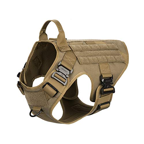 ICEFANG Tactical Dog Harness with 4X Metal Buckle,Dog MOLLE Vest with Handle,No Pulling Front Clip,Hook and Loop Panel for Dog Custom Patch (L (28'-35' Girth), Coyote Brown)