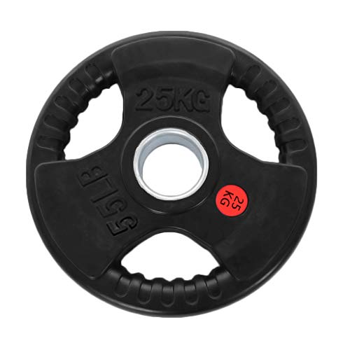 """【US Stock】 Rubber Coated Barbell Plate,Olympic Plate,Weight Plate,Standard 2"""" Exercise Weight Grip Plate,Home Gym Barbell,Strength Trainer,Bumper Plates,5.5LB/11LB/22LB/33LB/44LB/55LB (22LB)"""