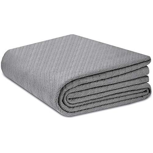 COTTON CRAFT - 100% Super Soft Premium Cotton Herringbone Twill Thermal Blanket - Full/Queen Grey
