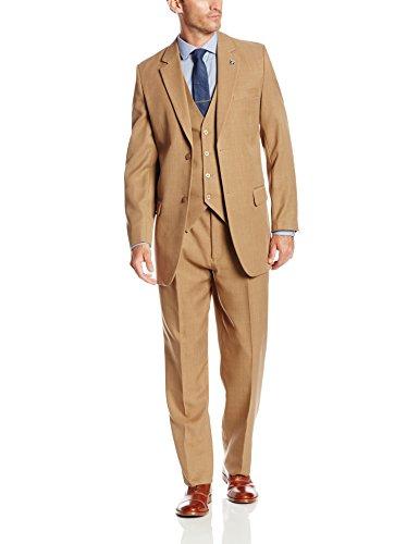 Stacy Adams Men's Big-Tall Suny Vested 3 Piece Suit, Tan, 56 Long
