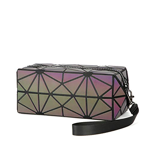 AIBKHK Luminous Womens Handbag Makeup Bag Lattice Design Geometric Bag Unique Purses Cell Phone Purse (Geometric Bag 03)