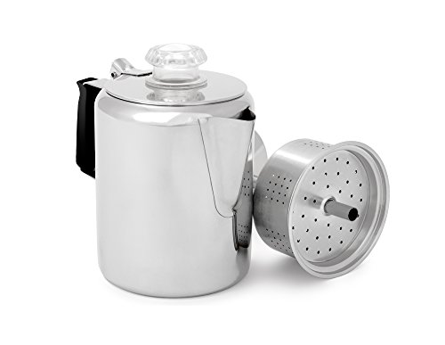 GSI Outdoors Glacier Stainless Steel Percolator Coffee Pot with Silicone Handle for Camping and Backpacking, for Individuals and Groups, Stove Safe