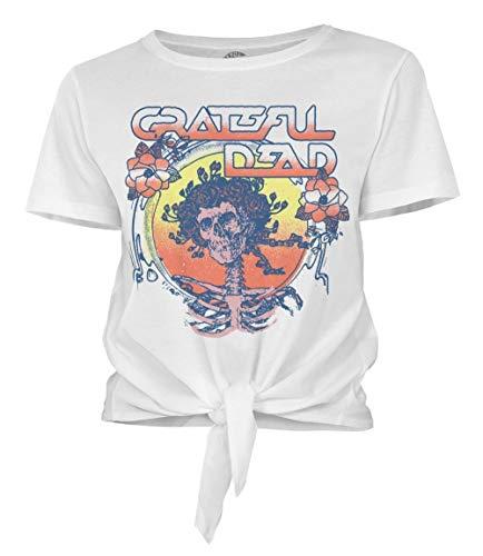 Ripple Junction Grateful Dead Juniors Bertha Sci-Fi Font Tie Front Light Weight 100% Cotton Crew T-Shirt 3XL White