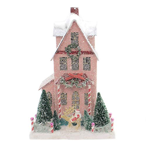 Cody Foster Snowy Pink Village House with Santa Christmas Mantel