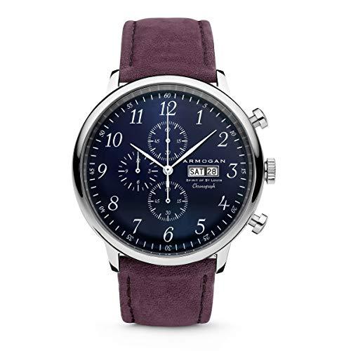 Armogan Spirit of St. Louis - Blue Sapphire - Men's Chronograph Watch Suede Leather Strap