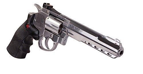 Crosman CRVL357S SR357 Full Metal CO2-Powered 6- Shot BB Revolver Air Pistol, Silver