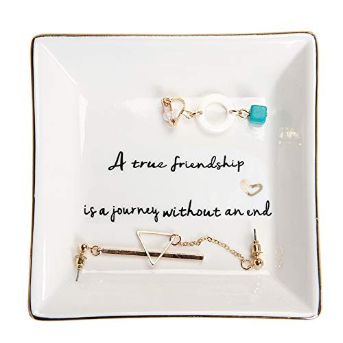HOME SMILE Friends Gifts for Her Ring Trinket Dish-A True Friendship is a Journey Without an end-Birthday Gifts for Friends Female