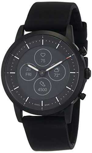 Fossil Men's 42mm Collider Stainless Steel and Silicone Hybrid HR Smart Watch, Color: Black (Model: FTW7010)