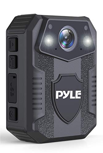 Police Security Video Body Camera - HD 1920x1080p Rechargeable Wireless Waterproof Wearable Law Enforcement Mini Surveillance Cam, Audio Video Recording, Night Vision, Motion Detector - Pyle PPBCM8