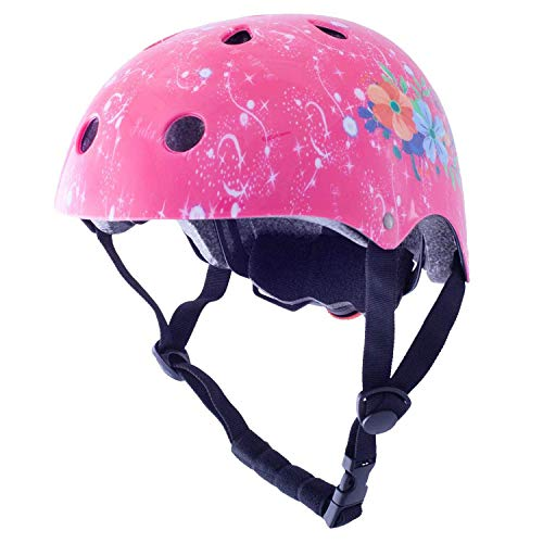 Exclusky Kids Helmets Adjustable CE CPSC Certified Sports Child Helmet for Bike Cycling/Scooter/BMX/Skating - Ages 3-7 (Pink)