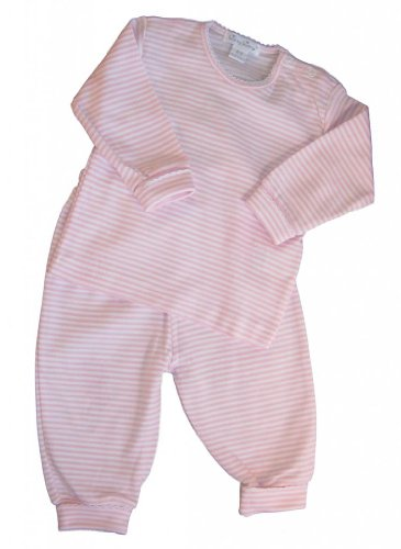 Kissy Kissy Baby Stripes Striped Pant Set with Long Sleeved Tee Shirt-White with Pink-0-3 Months