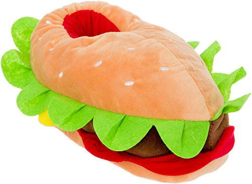 Silver Lilly Hamburger Slippers - Plush Cheeseburger Slippers w/Comfort Foam Support (Multi Color, Medium)