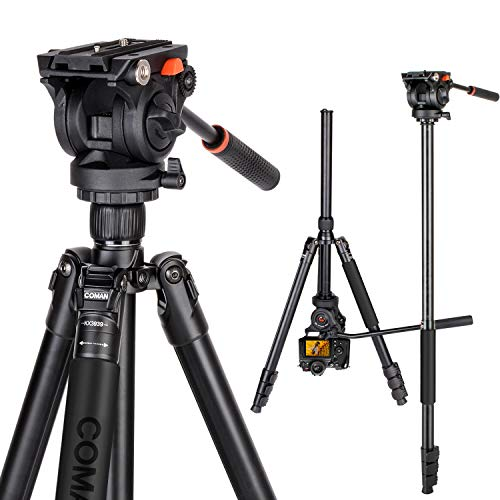71' Tripod, COMAN Premium Camera Tripod, Portable All-in-1 Professional Video Tripod, Lightweight Aluminum, Q5 Fluid Head with 1/4' and 3/8' Mounting Screw for DSLR Cameras Video Camcorders