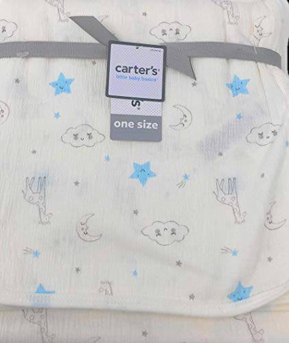 Carters Little Baby Basics Stars/Clouds/Giraffe | 35 X 35 in Swaddle Blanket