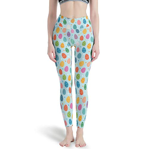 Easter Eggs Cute(5) Yoga Pants for Women High Waist Seamless Tights in Gym White m