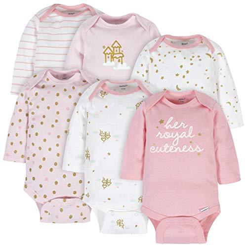 Gerber Baby 6-Pack Long-Sleeve Onesies Bodysuit, Castle, 6-9 Months