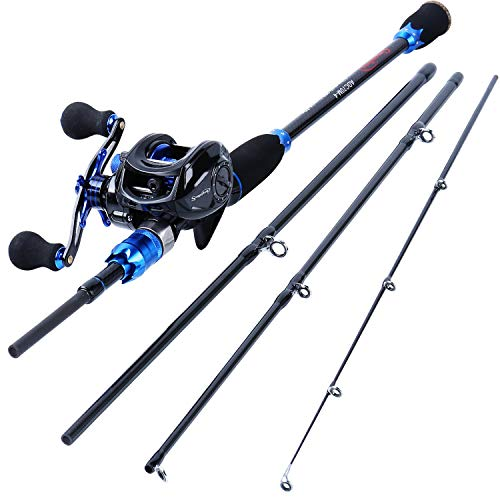 Sougayilang Fishing Reel and Rod Combos,24-Ton Carbon Fiber Fishing Poles for with Bait Casting Reel,7.0:1 Gear for Travel Freshwater