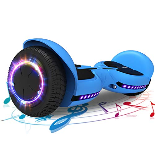 TOMOLOO Hoverboard Music-Rhythmed Hoverboard 6.5 inch Electric Scooter- UL2272 Certificated with Bluetooth Speaker LED Lights Kids and Adult Two-Wheel Self-Balancing Scooter (Blue)