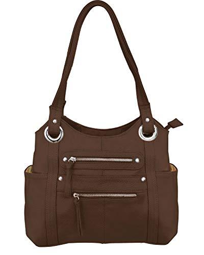 Leather Locking Concealment Purse - CCW Concealed Carry Gun Shoulder Bag, Brown