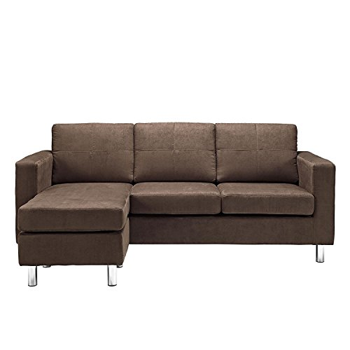 Small Spaces Configurable Sectional Sofa, Brown