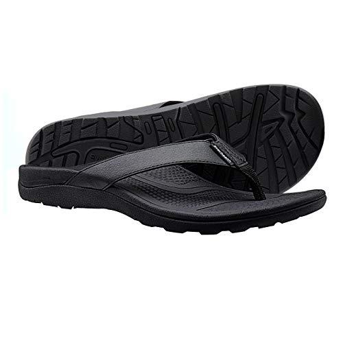 EVERHEALTH Orthotic Flip Flops Men's Sandals with Comfort Arch Support for Plantar Fasciitis & Flat Feet (Walking Essential) Black