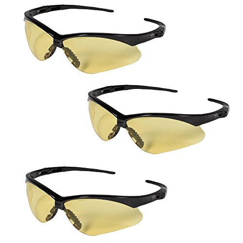 Jackson Safety 25659 Nemesis Safety Glasses 3000359 (3 Pair) (Black Frame with Amber Lens)