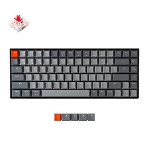 Keychron K2 Bluetooth Mechanical Keyboard with Gateron Red Switch/White LED Backlit/USB C/Anti Ghosting/N-Key Rollover/Compact Design, 84 Key WirelessKeyboard for Mac Windows-Version 2