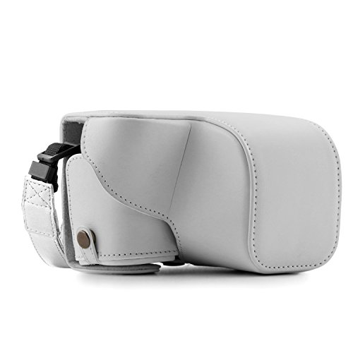 MegaGear Sony Alpha A6300, A6000 (16-50 mm) Ever Ready Leather Camera Case with Strap - White - MG864