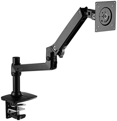 Amazon Basics Single Monitor Stand - Lift Engine Arm Mount, Aluminum - Black
