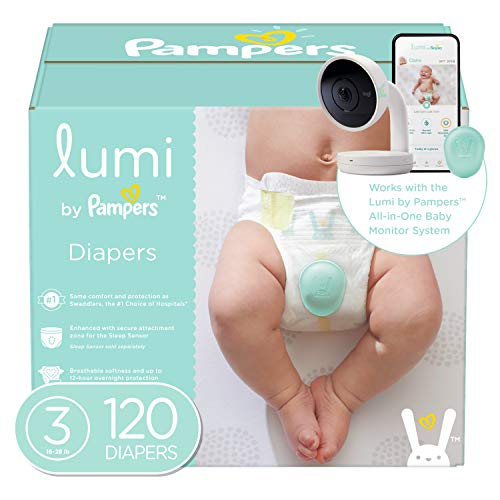 Lumi by Pampers Diapers Size 3, 120 Count, Enormous Pack - Compatible with The Lumi Pampers Smart Sleep System (Sold Separately)
