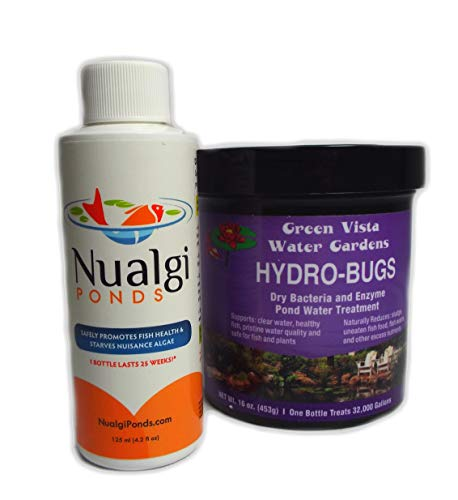 Green Vista Pond Care - Hydro-Bugs & Nualgi Ponds SYNERGISTIC Combo Pack - All-Natural Pond and Water Clarifier. Promotes Pond, Fish and Plant Health (125 mil & 16 oz)