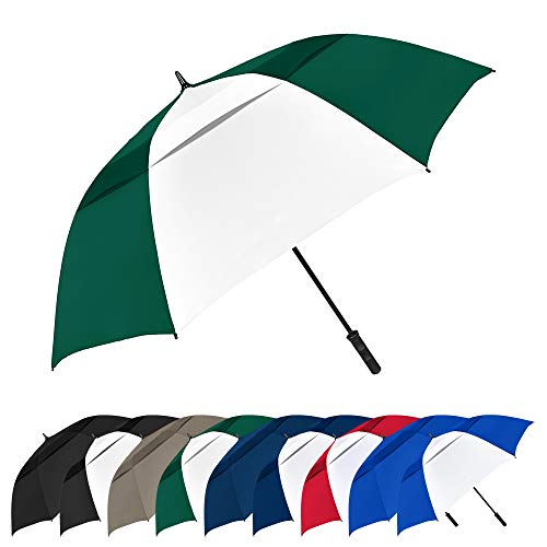 STROMBERGBRAND UMBRELLAS The Vented Tornado 64' Windproof Waterproof PGA Professional Quality Ultimate Portable Golfers Auto Open Golf Umbrella for Men and Women, Hunter Green/White, One Size