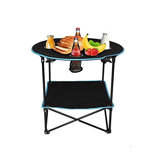 Vilobos Folding Table,Travel Camping Picnic Collapsible Round Table with 4 Cup Holders and Carry Bag (Black&Blue)