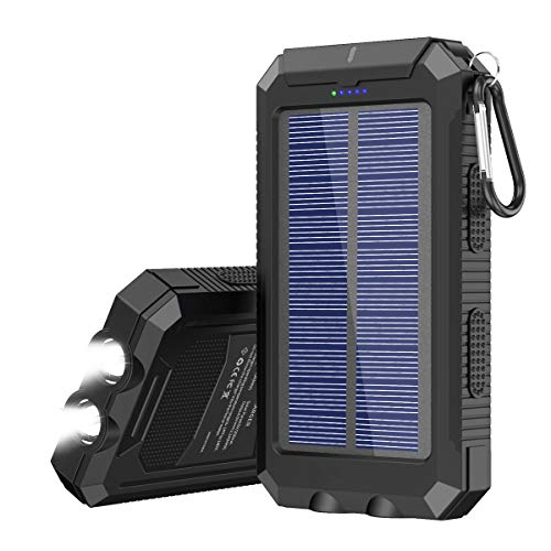 Solar Charger 20000 mAh Portable Solar Power Bank for Cell Phone Waterproof External Backup Solar Battery Charger with Dual 2 USB Port/LED Flashlights Compatible All Smartphone, Tablet, and More