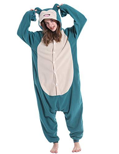 vavalad Adult Snorlax Onesies Pajamas Cosplay Animal Homewear Sleepwear Jumpsuit Costume Women Men