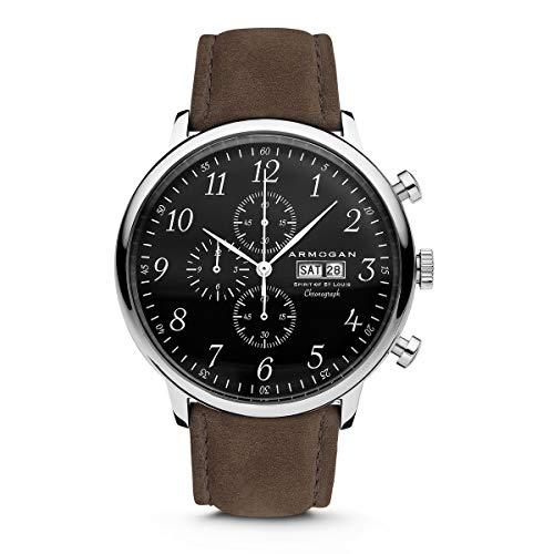 Armogan Spirit of St. Louis - Silver Black - Men's Chronograph Watch Suede Leather Strap