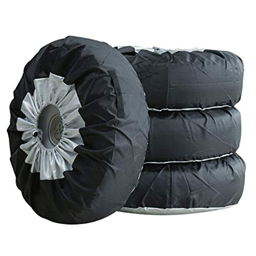 PGMARO Seasonal Tire Spare Tire Cover Portable Wheel Bags Winter Tire Cover Eco-Friendly Tire Handle for Easy Transportation 4pcs Fits 25-31 Inch Tire Diameter Cars and Trucks (M)