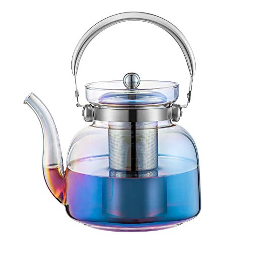 E-liu 50 Ounces Glass Teapot Kettle with Lid, Removable Stainless Steel Infuser and Handle, Stovetop Safe Tea Maker for Blooming and Loose Leaf Tea(Iridescent)