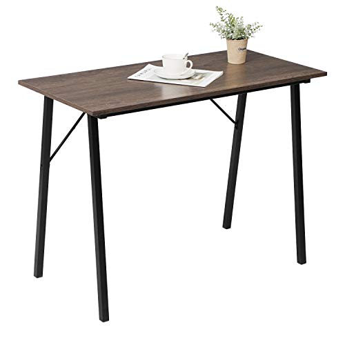 Writing Computer Desk Modern Simple Study Table Kids Desk Small Industrial Home Office Wood Work Desk with Metal Legs, Rustic Brown